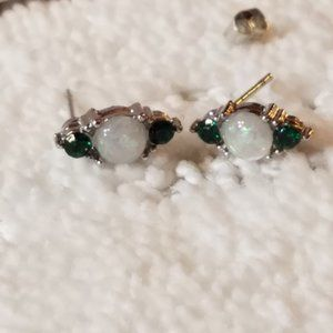 Opal/ Eternity Green Emerald CZ White Gold Plated